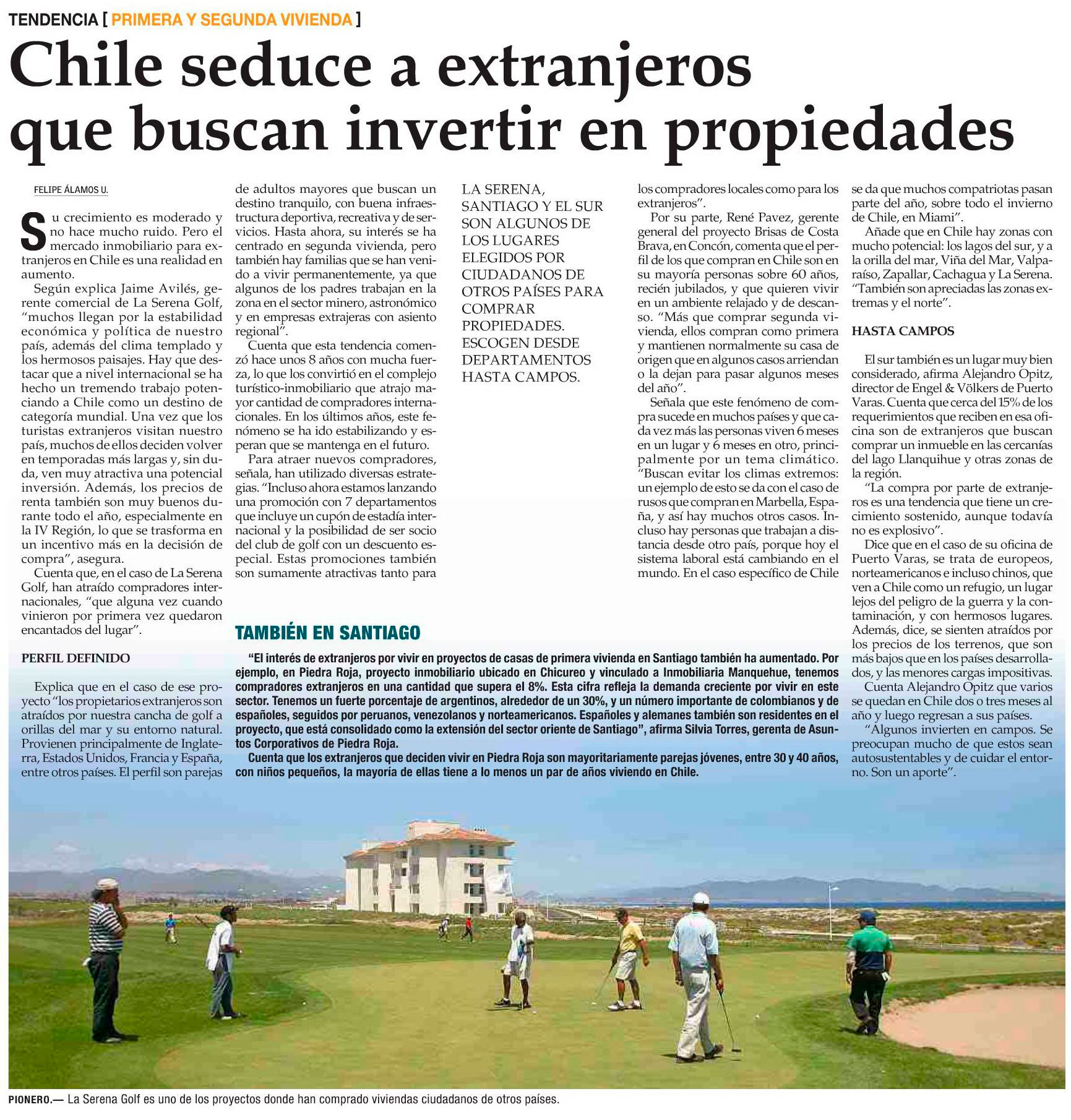 Extranjeros Piedra Roja, El Mercurio