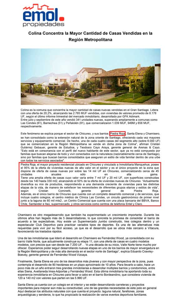 Colina Lidera Venta Casas Nueva